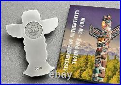 2018 Palau Totem Pole 2oz Silver. 999 Antiqued Coin + Box & CoA