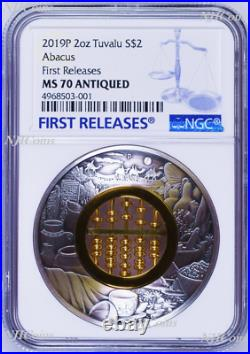2019 Abacus 2oz Silver Antiqued Coin NGC MS 70 FR