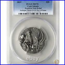 2019 Cook Islands POSEIDON Gods of the World (MS70) 3oz Silver Antique Coin