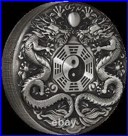 2019 Double Dragon 2oz Antiqued High Relief Silver Coin