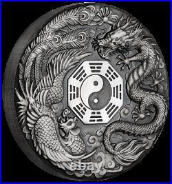 2019 Dragon & Phoenix 2oz Antiqued Silver Coin