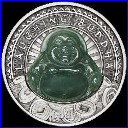 2019 LAUGHING BUDDHA $1 Dollar 1oz. 9999 SILVER ANTIQUED JADE-Insert COIN
