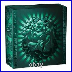 2019 Laughing Buddha Antiqued Coin 1oz Silver Proof with Jade