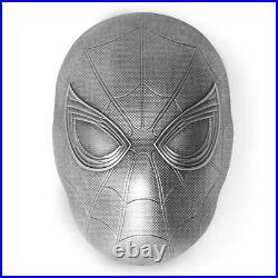 2019 Marvel Comics SPIDER MAN MASK 2 oz Silver Coin Fiji $5 Spiderman Icon