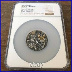 2019 Niue Gilt Samurai Warrior (NGC MS69) 2oz Silver Antique Coin