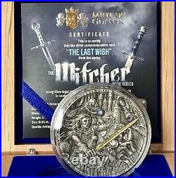2019 Niue Island The Witcher Last Wish 2oz Silver Antique Coin