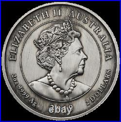 2019 Queen Victoria 200th Anniversary 2oz Silver Antiqued Cameo Coin NGC MS70 ER