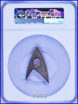 2019 Star Trek STARFLEET COMMAND EMBLEM DELTA Antiqued Silver $1 Coin NGC MS69