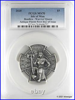 2020 £5 Isle of Man Boudica 3 oz Antique Silver Coin PCGS MS70 First Day Issue