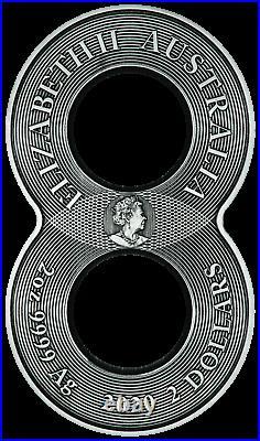 2020 Australia Figure 8 Dragon & Phoenix ANTIQUED 2oz Silver $2 COIN NGC MS70 FR