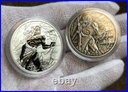 2020 Dual Set Tuvalu Gods Of Olympus Zeus Silver 1 Oz Antiqued And 1 Oz Bu Coins
