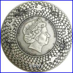 2020 Niue 2 oz Aztec Dragon High Relief Antique Finish Silver Coin