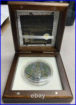 2020 Niue $5 Amber Scarabaeus Antiqued 2 oz Silver Coin withGemstone Mintage 500