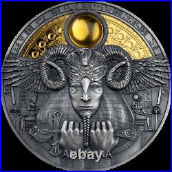 2020 Niue $5 Egyptian God Amun-Ra 3 oz Silver Antiqued Coin withGold Mintage 500