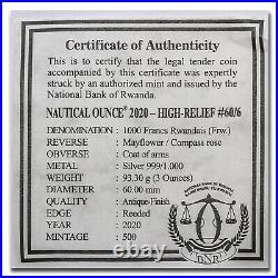2020 Rwanda 3 oz Silver Nautical Ounce Mayflower (HR) (Antiqued) SKU#212568