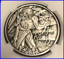 2020 Tuvalu Gods Of Olympus Zeus 1 Oz Silver Antiqued Coin Ngc Ms70 Fs