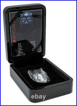 2021 2 Oz Silver $5 Fiji BLACK PANTHER MASK Marvel Icons Antique Coin