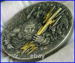 2021 2 Oz Silver $5 Niue ZEUS Gods Antique Finish Coin