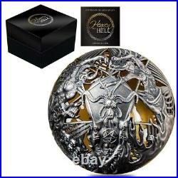 2021 2 oz Silver Heaven and Hell Spherical Coin Samoa. 999 Fine (withBox & COA)