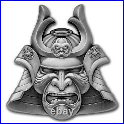 2021 Ancient Warriors Samurai Mask-Shaped 2oz Silver Antiqued Coin