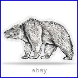 2021 Chad 1 oz Silver Bear Shaped Antiqued High Relief Coin (In Cap, Sealed)
