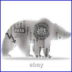 2021 Chad 1 oz Silver Bear Shaped Antiqued High Relief Coin (withBox)