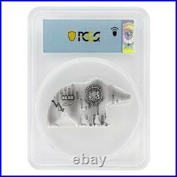 2021 Chad 1 oz Silver Bear Shaped Coin PCGS MS 70 FDOI Antiqued High Relief