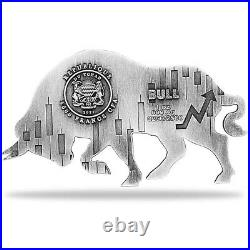 2021 Chad 1 oz Silver Bull Shaped Antiqued High Relief Coin (In Cap, Sealed)