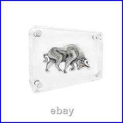 2021 Chad 1 oz Silver Bull Shaped Antiqued High Relief Coin (withBox)