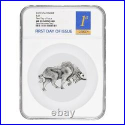 2021 Chad 1 oz Silver Bull Shaped Coin NGC MS 70 FDOI Antiqued High Relief
