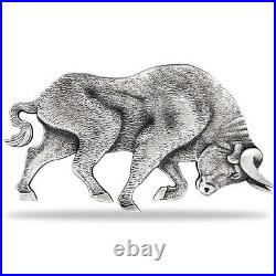 2021 Chad 1 oz Silver Bull Shaped Coin PCGS MS 70 FDOI Antiqued High Relief