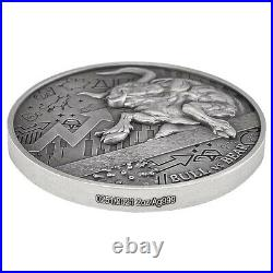 2021 Chad 2 oz Silver Bull vs Bear Pandemic Antiqued High Relief Coin In Cap