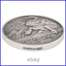 2021 Chad 2 oz Silver Bull vs Bear Pandemic Antiqued High Relief Coin (withBox)