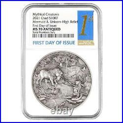 2021 Chad 2 oz Silver Mermaid & Unicorn Coin NGC MS 70 FDOI Antiqued High Relief