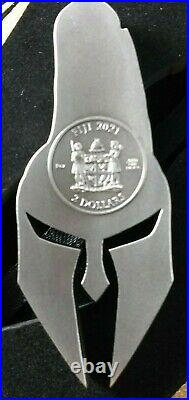 2021 Fiji 2 oz Silver Ancient Warriors Spartan Mask Shaped Coin SHIPS FREE NOW