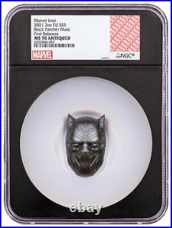 2021 Fiji Black Panther Mask Shaped 2 oz Silver Antiqued $5 Coin NGC MS70