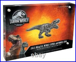 2021 Jurassic Park 2oz Silver Antiqued T. Rex Shaped Coin