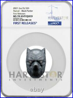 2021 MARVEL BLACK PANTHER MASK 2 OZ. SILVER COIN NGC MS70 ANTIQUED WithOGP