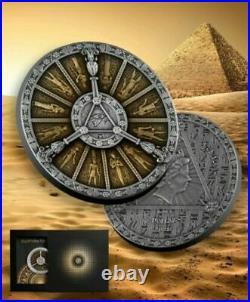 2021 Niue $2 Egyptian Calendar 2 oz Silver Coin Antiqued withResin 500 Made