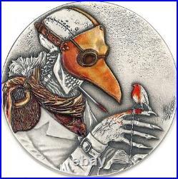 2021 Niue $2 Plague Doctor 50g. 999 Silver Antiqued Coin 250 Made
