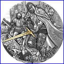 2021 Niue 2 oz Camelot Arthur Pendragon High Relief Antique Finish Silver Coin