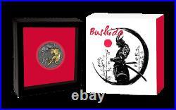 2021 Niue $5 Bushido 2 oz Silver Coin Antiqued withGold Gilding 500 Made