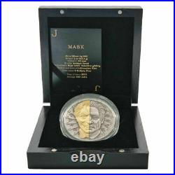2021 Niue $5 Two-Face Mask Antiqued Gold Gilded 2 oz. 999 Silver Coin 500 Made
