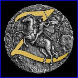 2021 Niue $5 Zorro 2 oz Silver Coin Antiqued withGold Gilding 500 Made