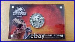 2021 Niue Jurassic World 2oz High Relief Antiqued Silver Coin Park T-Rex