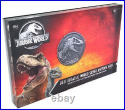 2021 Niue Jurassic World Cracked High Relief 2 oz Silver Antiqued $5 Coin GEM BU