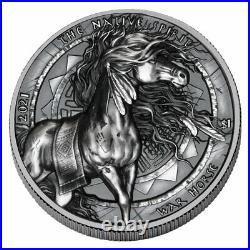 2021 Oglala Lakota Sioux Native Spirit War Horse UHR Silver Antiqued $1 PRESALE