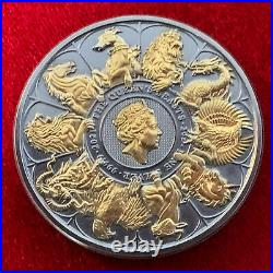 2021 Queen's Beast Collection 2 Oz. 9999 Silver Coin Antiqued with 24K Gold by SFS