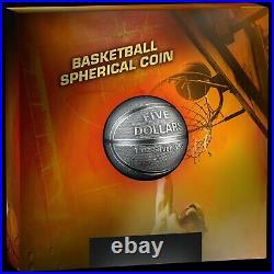 2021 Samoa $5 Spherical 3D Antiqued Basketball 1oz 999 Silver Coin -999 Mintage