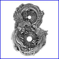 2021 Tokelau Dragon & Phoenix HR Figure 8 Shaped 3 oz Silver Antiqued $15